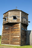 Defense tower on a pioneer log fortress. Fort Vancouver Washington State Stock Photos