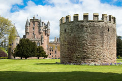 Defense turret with Glamis castle in background Stock Image
