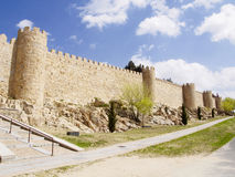 Defense wall of Avila city Royalty Free Stock Photo