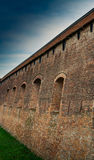 Defense Wall. Old city defense wall provided with holes for artillery like cannons Royalty Free Stock Photos