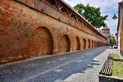 Defense wall and tower in Sibiu Royalty Free Stock Photos