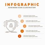 Defensie, firewall, bescherming, veiligheid, het Malplaatje van schildinfographics voor Website en Presentatie Lijn Grijs pictogr stock illustratie