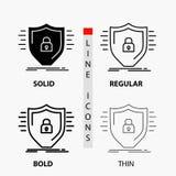 Defensie, firewall, bescherming, veiligheid, schildpictogram in Dunne, Regelmatige, Gewaagde Lijn en Glyph-Stijl Vector illustrat vector illustratie