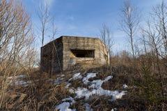 Defensiebouw van Tweede Wereldoorlog op de bank van de rivier van Dniepr Royalty-vrije Stock Fotografie
