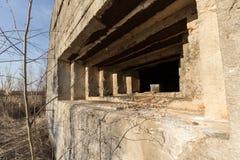 Defensiebouw van Tweede Wereldoorlog op de bank van de rivier van Dniepr Stock Foto's