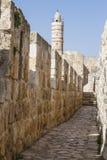 Defensiv vägg av den forntida heliga Jerusalem. Arkivfoton