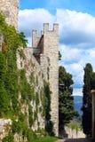 Defensiv vägg och torn av Castello Nipozzano royaltyfri bild
