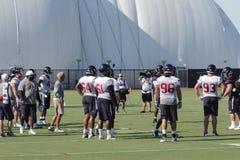 Defensiva spelare på Houston Texans Training Camp Arkivfoto