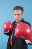 Defensive. A man in a business suit with boxing gloves on, ready to punch the camera Stock Images