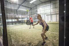 Defensive action in paddle tennis Royalty Free Stock Image