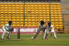 Defensive batting shot. Karun Nair plays a defensive shot in the Irani Cup royalty free stock photos