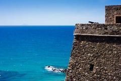 Defensive Castle facing onto the Mediterranean Royalty Free Stock Photos