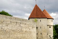 Defensive constructions of old Tallinn Stock Images