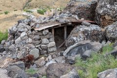 The defensive dugout on the Golan Heights in Israel has been left since the days of the Doomsday  Yom Kippur War war. The defensive dugout on the Golan Heights Stock Image