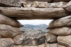 Defensive fighting position in Alcubierre, Spain Royalty Free Stock Photo