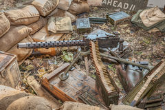 Defensive fighting position of world war two. Reproduction of a defensive fighting position of world war two with gun machine Browning M1919, during the town Stock Photo