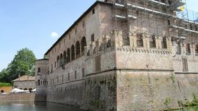 Defensive fosse of Sanvitale Castel in the city of Fontanellato, Parma, Italy.  stock video footage