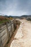 Defensive kämpfende Stellung in Alcubierre, Spanien Stockbild