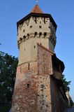 Defensive Medieval Tower in Sibiu Stock Photo