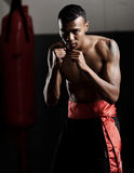 Defensive pose. Martial arts fighter stands in a defensive stance and stares ahead ready to embrace conflict stock images