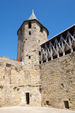 Defensive tower. Tower of one of the angles of the court of the Castle of Carcassonne's Citadel stock images