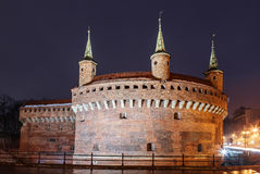 Defensive tower in the Barbican is the gate of the medieval Krakow Stock Images