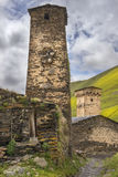 Defensive towers in village Ushguli in Upper Svaneti, Georgia Stock Images