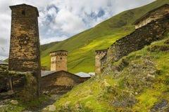 Defensive towers in village Ushguli in Upper Svaneti, Georgia Royalty Free Stock Photos
