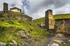 Defensive towers in village Ushguli in Upper Svaneti, Georgia Stock Photo
