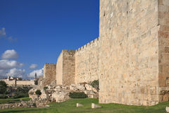 Defensive wall of the ancient holy Jerusalem Stock Photos