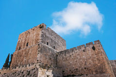 Defensive wall of the ancient holy Jerusalem Royalty Free Stock Photography