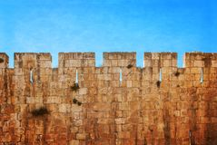 Defensive wall of the ancient holy Jerusalem Royalty Free Stock Photos