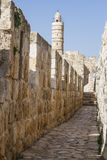 Defensive wall of the ancient holy Jerusalem . Stock Photos