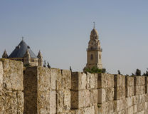 Defensive wall of the ancient holy Jerusalem . Royalty Free Stock Photos