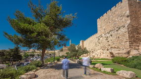 Defensive wall of the ancient holy Jerusalem timelapse hyperlapse, lit by the bright sun. Wonderful green lawn. And blue sky stock video