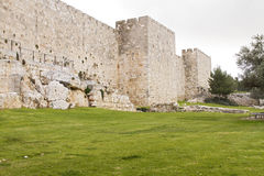Defensive wall of the ancient holy Jerusalem . Stock Image