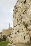 Defensive wall of the ancient holy Jerusalem . Royalty Free Stock Image