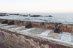 Defensive wall cannons at Essaouira, Morocco Royalty Free Stock Image