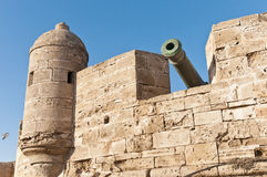 Defensive wall cannons at Essaouira, Morocco Royalty Free Stock Photos