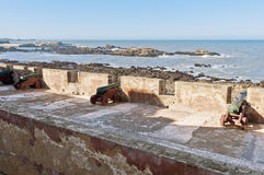 Defensive wall cannons at Essaouira, Morocco Royalty Free Stock Photography