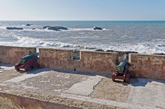 Defensive wall cannons at Essaouira, Morocco Royalty Free Stock Photo