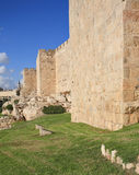 Defensive wall of the holy Jerusalem Stock Photos