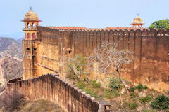 Defensive wall of Jaigarh Fort on the top of Hill of Eagles near Royalty Free Stock Images