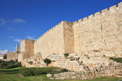 Defensive wall of Jerusalem Stock Image