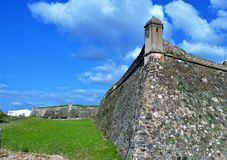 The defensive wall of Juromenha. Photo of the defensive wall in Juromenha fortress at the Portuguese border with Spain - Juromenha, Alentejo, Portugal - February stock photo