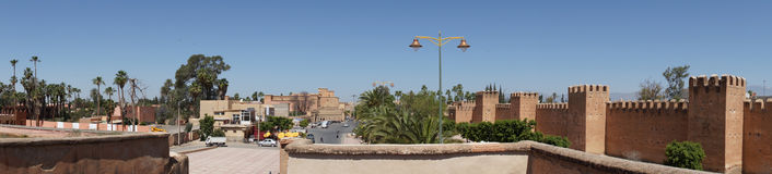 Defensive wall in Taroudant , panorama. View of the walls of the city of Taroundant in the Sous Valley in Morocco, North Africa Royalty Free Stock Photo