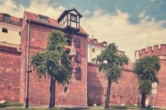 Defensive wall in Torun city, Poland. Stock Image