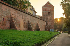Defensive wall (Torun, Poland) in the sunrise Royalty Free Stock Images