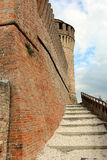 Defensive wall and tower of castel Stock Photos