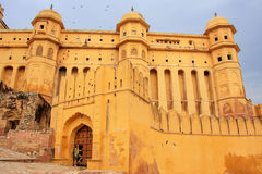 Defensive walls of Amber Fort in Rajasthan, India Royalty Free Stock Photos